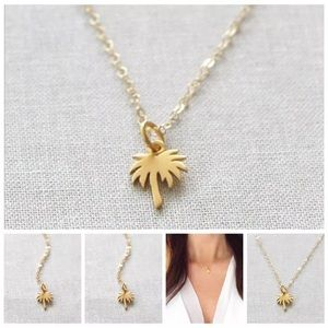 Gold palm tree necklace beach tropical Hawaii